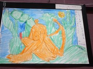 Desenhos feitos por paciente do Caps no Centro Cultural de Suzano (Foto: Fernando Araújo/Secoi)