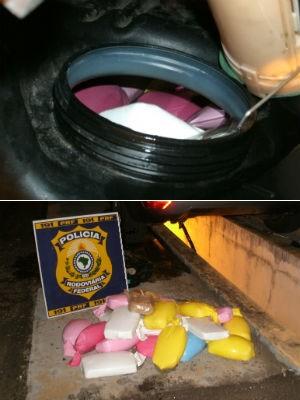 22,8 kg de crack foram encontrados dentro do tanque de combustível (Foto: Divulgação/PRF)