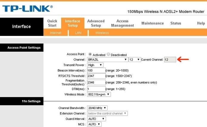 Canal selecionado como 12 ou 13, incompatível com dispositivos antigos (Foto: Reprodução/Raquel Freire)