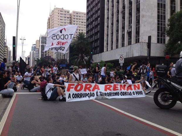 Grupo faz protesto contra eleição de Renan Calheiros para presidente do Senado (Foto: Rafael Miotto/G1)