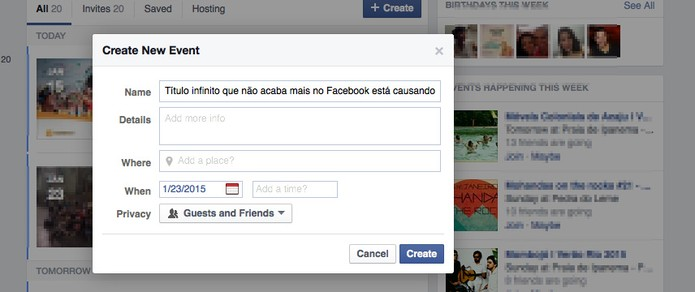 Facebook permite criar evento com título infinito e causa confusão na rede social (Foto: Reprodução/Facebook)
