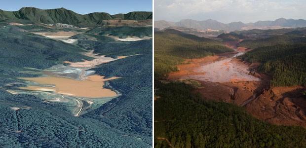 Antes e depois - Rompimento de barragem em Bento Rodrigues, MG (Foto: Felipe Dana/AP; Reprodução/Google Earth)