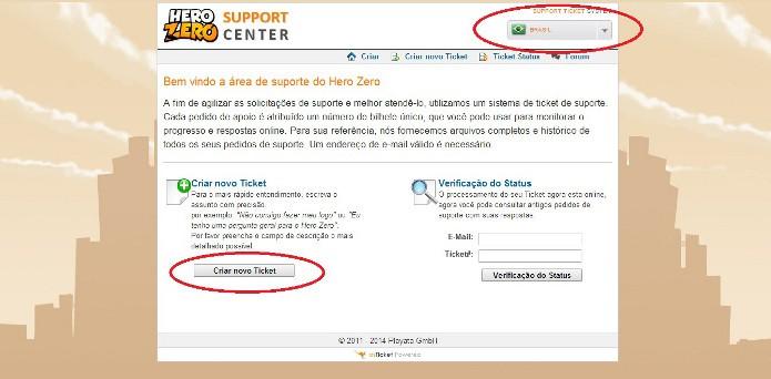 Hero Zero: Ente no site de suporte para adicionar um ticket (Foto: Reprodução / João Moura)