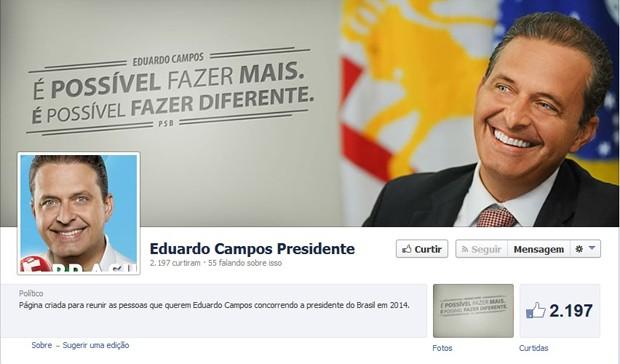 Página atribuída no Facebook ao governador de Pernambuco, Eduardo Campos (Foto: Reprodução)
