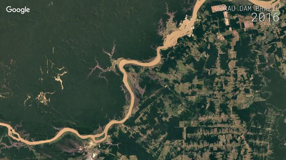 Jirau, em Rondônia, onde há uma usina hidrelétrica (Foto: Google)