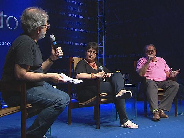 Geneton Moraes Neto, Heloísa Seixas e Ruy Castro (Foto: Reprodução / TV Globo)