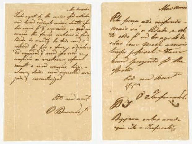Cartas de Dom Pedro I para Marquesa de Santos Mapro Juiz de Fora (Foto: Rômulo Fialdini/ Catálogo Banco Safra)