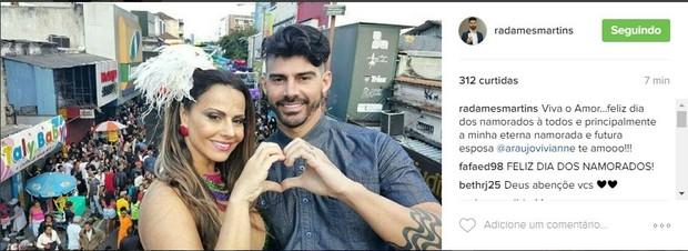 Radamés e Viviane Araújo na Parada Gay de Madureira, no Rio (Foto: Reprodução/Instagram)