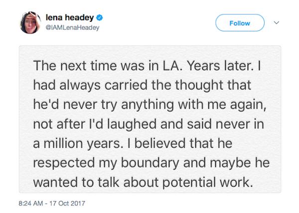 A revelação da atriz Lena Headey sobre o assédio cometido pelo produtor Harvey Weinstein (Foto: Twitter)