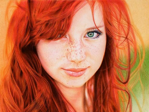 Desenho ultrarrealista reproduz fotografia da modelo russa Kristina Tararina. (Foto: Reprodução)