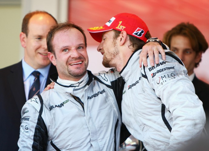 Rubens Barrichello e Jenson Button na Brawn GP em 2009 (Foto: Getty Images)