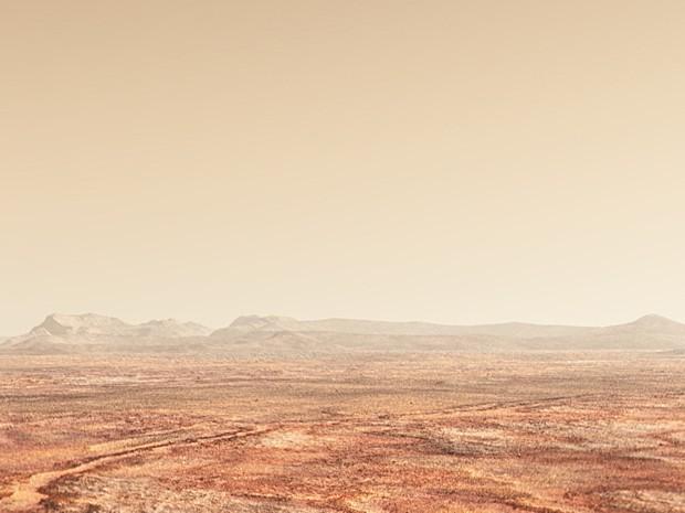 Concepção artística de Marte hoje, seco e frio (Foto: Reprodução/YouTube/Nasa)