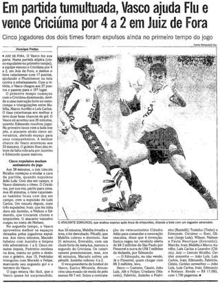 Jornal O Globo 18/11/1996 Vasco x Criciúma (Foto: Reprodução / Jornal O Globo)