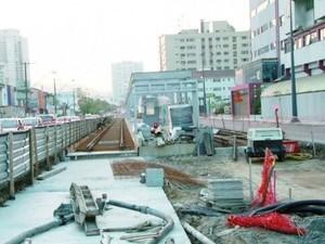Obras do VLT na Avenida Francisco Glicério em Santos (Foto: Divulgação/Prefeitura de Santos)