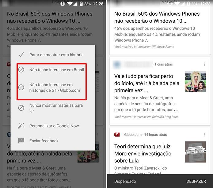 Google Now ocultará card quando usuário definir pelo bloqueio do assunto ou site (Foto: Reprodução/Elson de Souza)