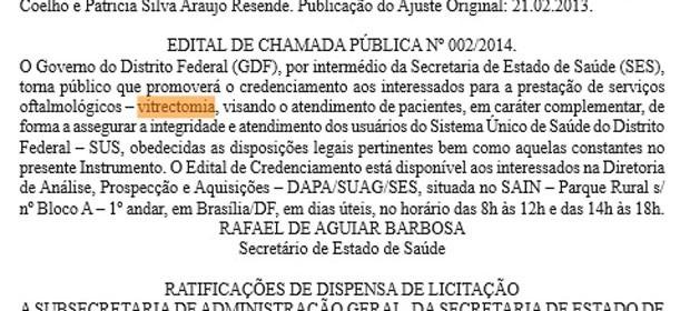 Trecho do Diário Oficial do DF com informações sobre a licitação para terceirização de cirurgias oftalmológicas (Foto: Diário Oficial do DF/Reprodução)
