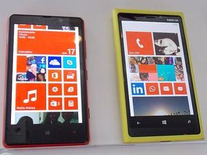 Aparelhos da Nokia com tecnologia 4G (Foto: Lílian Marques/ G1)