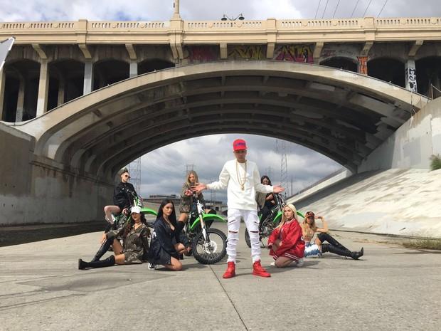 MC Duduzinho em gravação de clipe em Los Angeles, nos Estados Unidos (Foto: Divulgação)
