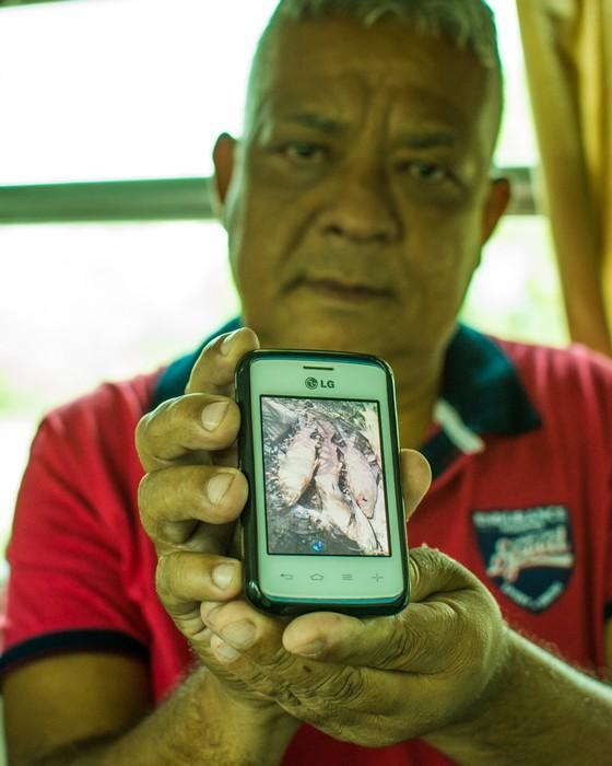 Ademilson Machado, policial militar de Governador Valadares (MG), mostra foto de peixes mortos no rio Doce em seu celular (Foto: Camila Pastorelli)