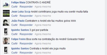 Torcedores fazem campanha no Facebook do Sporting para a contratação de André (Foto: Reprodução)
