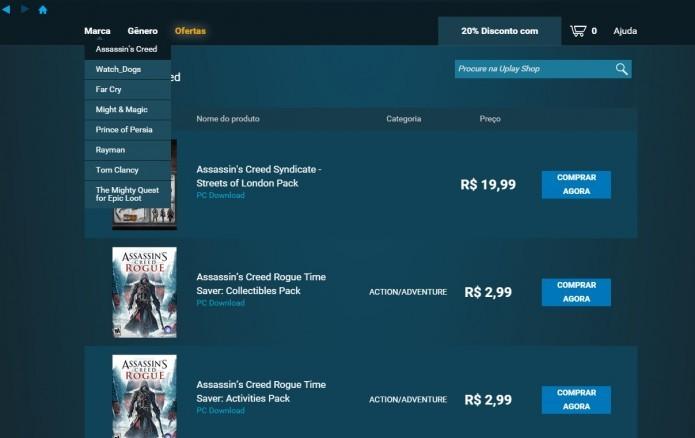 Assassins Creed: jogo pode ser comprado pelo aplicativo oficial da Ubisoft (Foto: Reprodução/Paulo Vasconcellos)