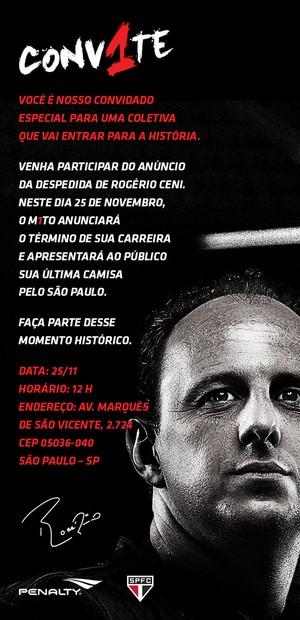 convite Rogério Ceni (Foto: Divulgação )