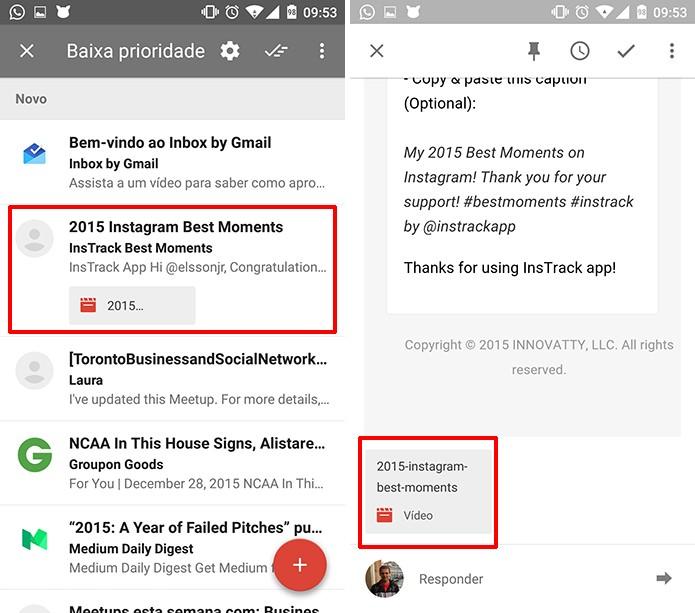 Usuário deverá baixar vídeo com retrospectiva do Instagram enviado para o e-mail (Foto: Reprodução/Elson de Souza)