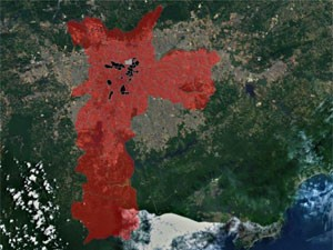 Pontos pretos destacam as zonas de tráfego com maior quantidade de viagens (Foto: Divulgação/Laboratório de Geoprocessamento da USP)