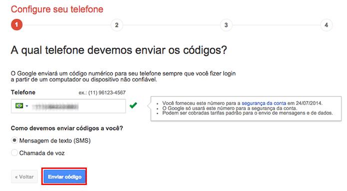 Configure um telefone para receber códigos de verificação (Foto: Reprodução/Paulo Alves)