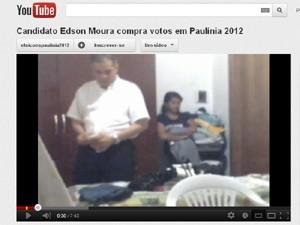 Vídeo que mostra suposta compra de votos feita por Edson Moura, candidato a prefeito de Paulínia, SP (Foto: Reprodução / Youtube)