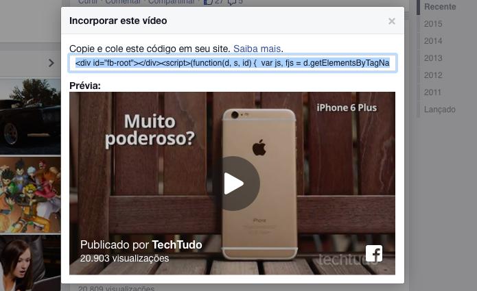 Copie o código e cole no site para incorporar o vídeo (Foto: Reprodução/Helito Bijora)