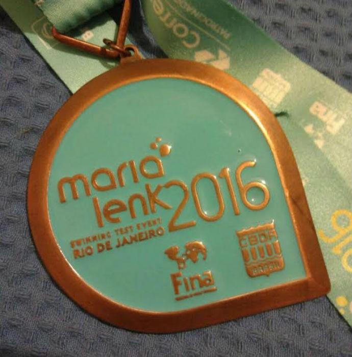 Medalha Cesar Cielo evento-teste Rio 2016 natação (Foto: Arquivo pessoal)