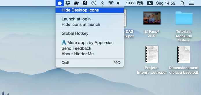 Ocultando ícones da área de trabalho do Mac (Foto: Reprodução/Helito Bijora)
