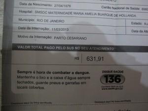 SUS enviou carta à Janif informando valor gasto em sua cesárea (Foto: Janaína Carvalho / G1)
