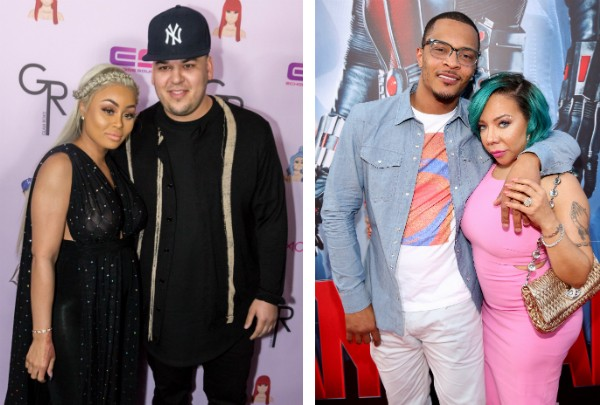 Blac Chyna, Rob Kardashian e o rapper Tip T.I. Harris com sua esposa, Tameka Tiny Cottle-Harris (Foto: Getty Images)