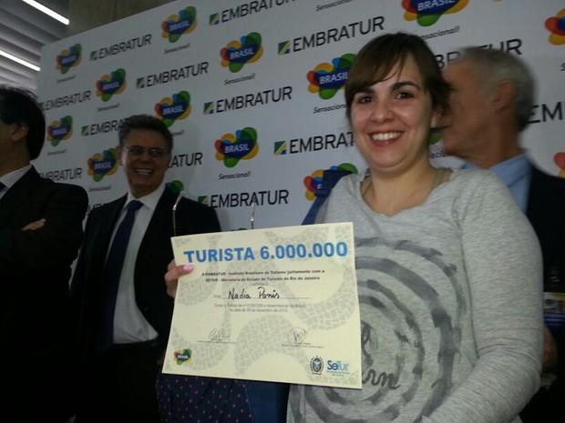 Argentina é a turista número seis milhões a chegar no Brasil (Foto: Renata Soares/G1)
