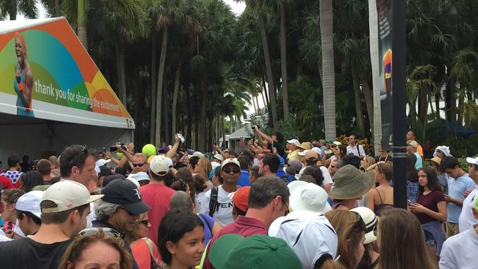 Torcida no treino de Roger Federer em Miami (Foto: Thiago Quintella)
