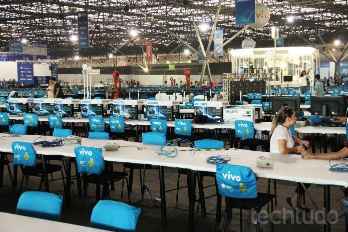 O Centro de Exposições do Anhembi já tem espaços das Arenas prontos para serem tomados pelos campuseiros (Foto: Renato Bazan/TechTudo)