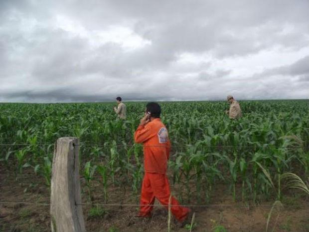 A última pegada que pode ser de Leonel foi encontrada em trilha que dá acesso a uma lavoura de milho (Foto: João Carlos Lopes/Defesa Civil de Talismã)