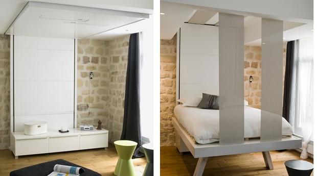 Esta sala é transformada quando a cama desce. O aparador na parede continua no lugar onde foi colocado, já que a cama pode ficar na altura que o morador quiser (Foto: Divulgação)