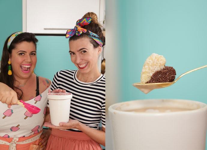 Raiza Costa e Paula Barbosa ensinam a receita de um sorvete de brigadeiro! (Foto: webséries/Gshow)