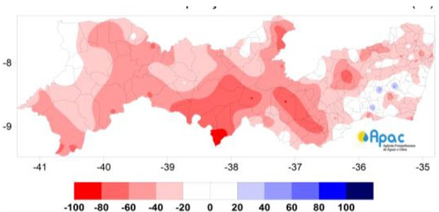 Infográfico mostra que Pernambuco registrou menos chuvas de janeiro a novembro de 2015 (Foto: Reprodução / Apac)