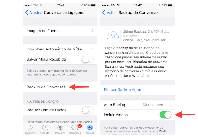 Ativando o backup de vídeos do WhatsApp no iCloud do iPhone (Foto: Reprodução/Marvin Costa) (Foto: Ativando o backup de vídeos do WhatsApp no iCloud do iPhone (Foto: Reprodução/Marvin Costa))