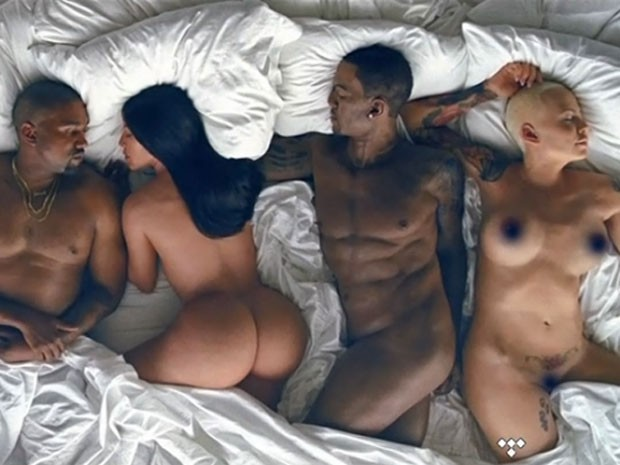 Kanye West, Kim Kardashian, Ray J e Amber Rose são retratados em clipe (Foto: Reprodução)