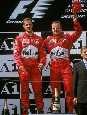 A temporada de 2002 foi marcada pelo constrangimento no pódio do GP da Áustria Michael Schumacher Rubens Barrichello