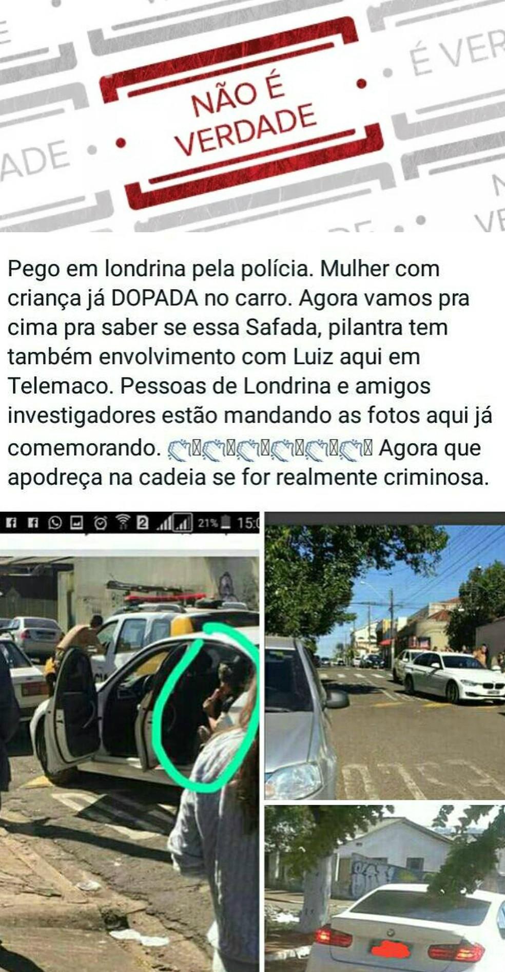 Não é verdade. Polícia alerta sobre imagem de boato que viralizou na internet (Foto: Reprodução)