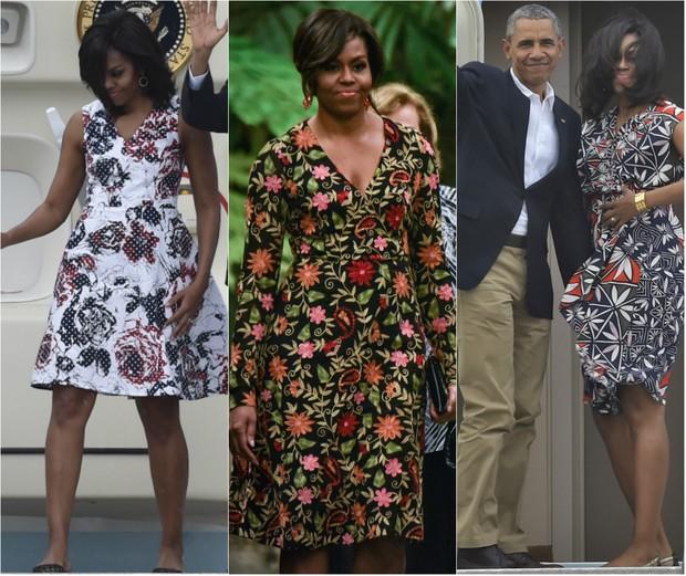 A primeira-dama dos Estados Unidos Michelle Obama usou looks coloridos e clássicos durante viagem histórica a Cuba (Foto: AFP)