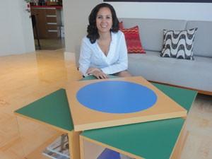 Maria Helena desenvolveu mesa em formato da bandeira (Foto: Divulgação)