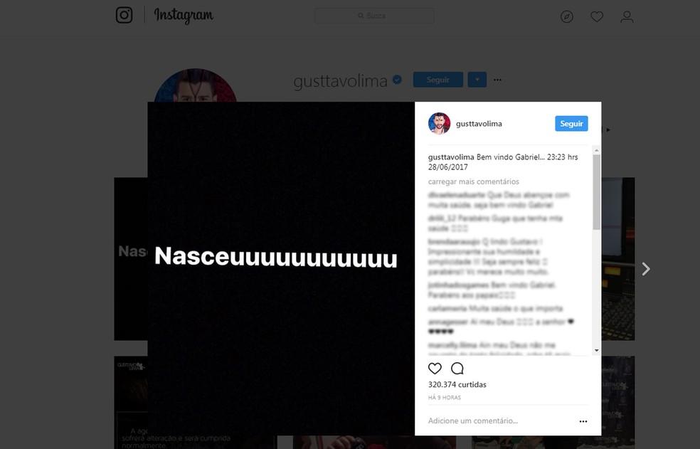 No Instagram, o cantor Gusttavo Lima divulgou o nascimento de seu primeiro filho com a modelo Andressa Suita (Foto: Reprodução/Instagram/gusttavolima)