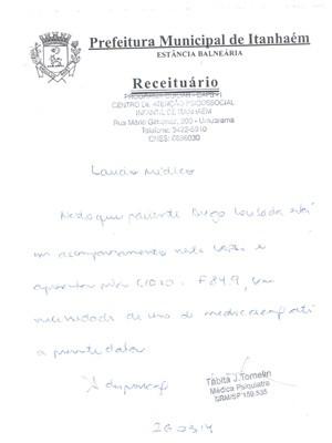 Laudo médico atestando que Diego tem autismo (Foto: Divulgação/Prefeitura de Itanhaém)
